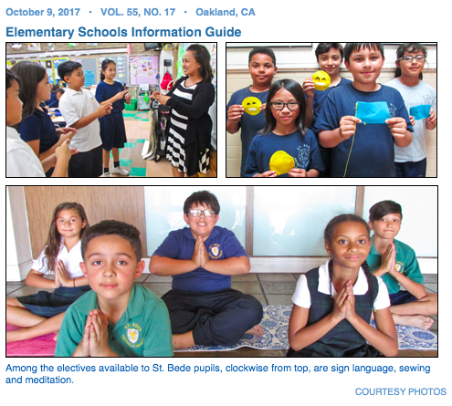 Among the electives available to St. Bede pupils, clockwise from top, are sign language, sewing and meditation.