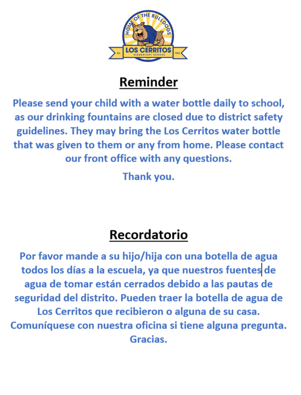Reminder: Water Bottles/Recordatorio: Botellas de Agua Featured Photo