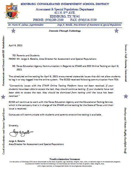 STAAR Online Parent Letter