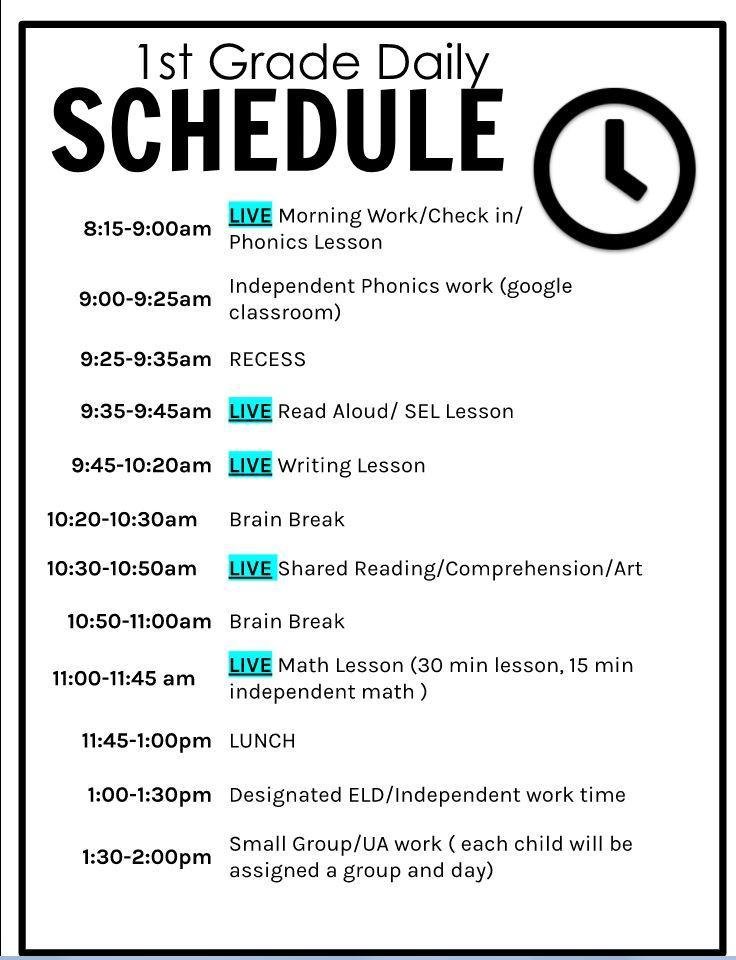 1st grade daily schedule