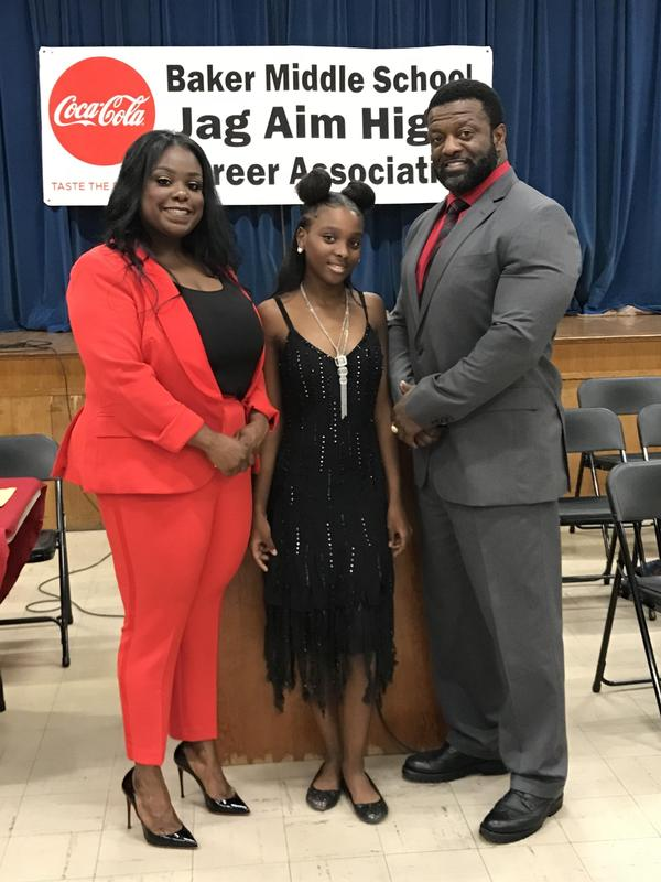 photo of JAG Specialist, Keyo Johnson, and Principal Walker with JAG student leader