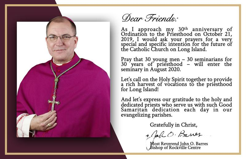 Bishop Barres' Special Intention for the Catholic Church on Long Island Featured Photo
