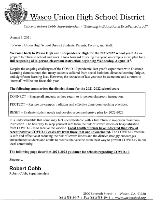 Welcome Back Letter 2021-22 School Year ~ Robert Cobb, Superintendent Featured Photo
