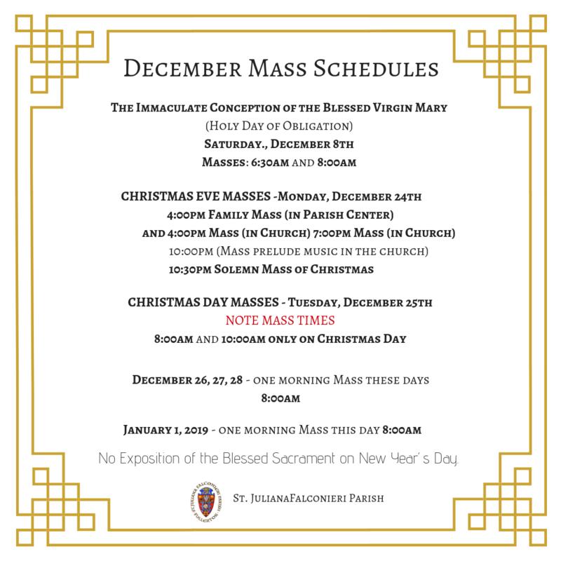 December Mass Schedule Featured Photo