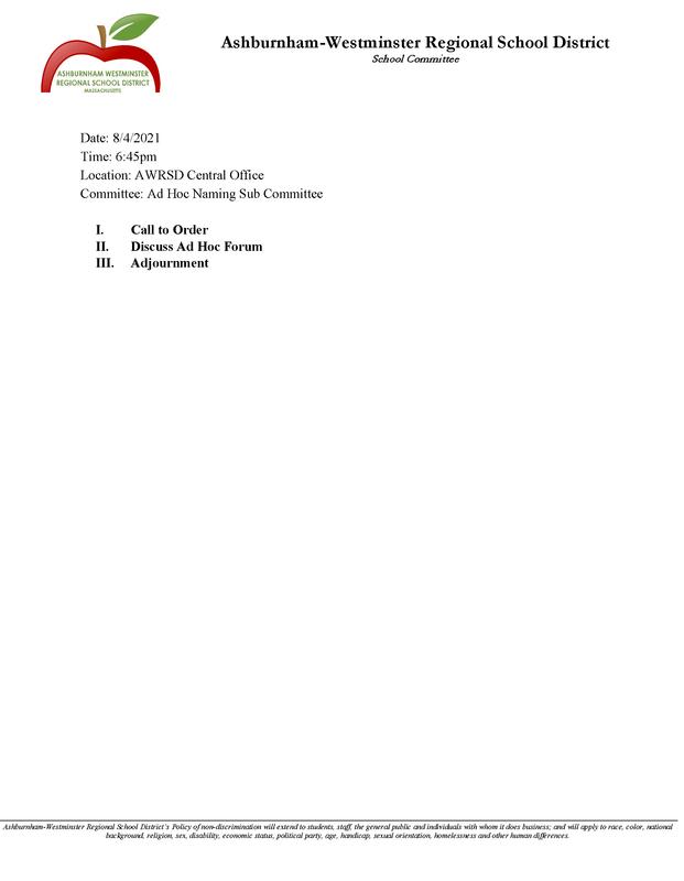 AdHoc Naming Sub Committee 8/4/2021 Featured Photo