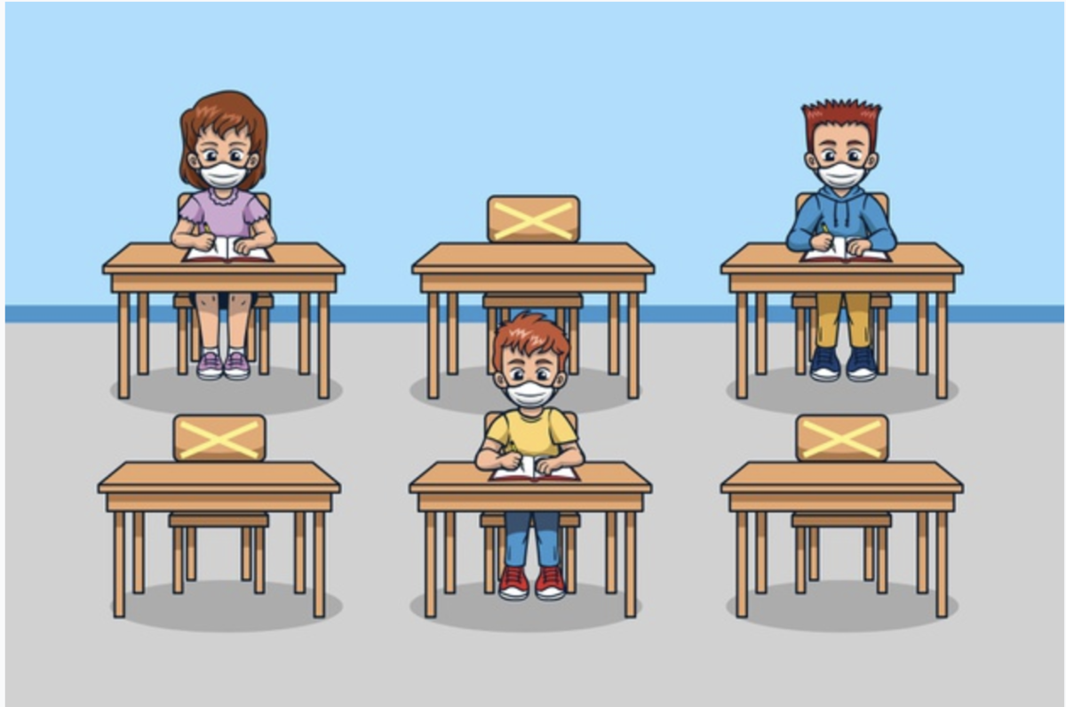 six desks with three students sitting at alternate desk to social distance.