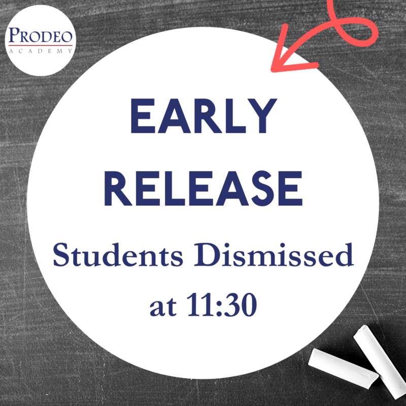 Early Release- students dismissed at 11:30