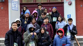 Members of Ms. Feldman's running club took part in a NYRR's race in Washington Heights.