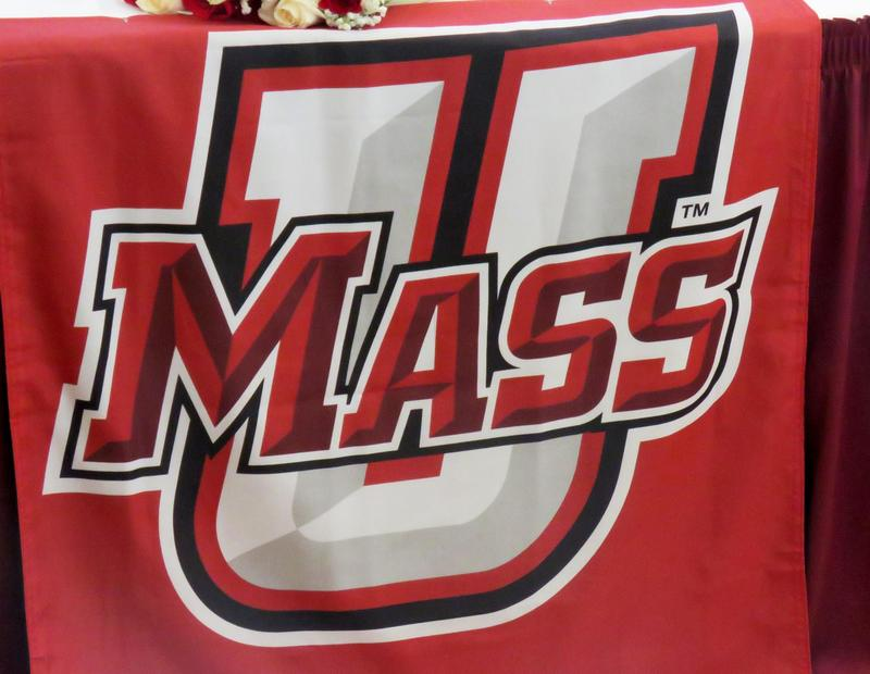UMass logo, all text, with an oversized
