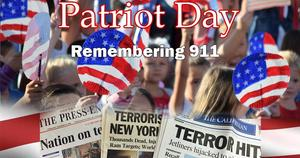 Banner: US flag, collage of 9-11-2001 newspaper headlines, with title Patriot Day-remembering 911