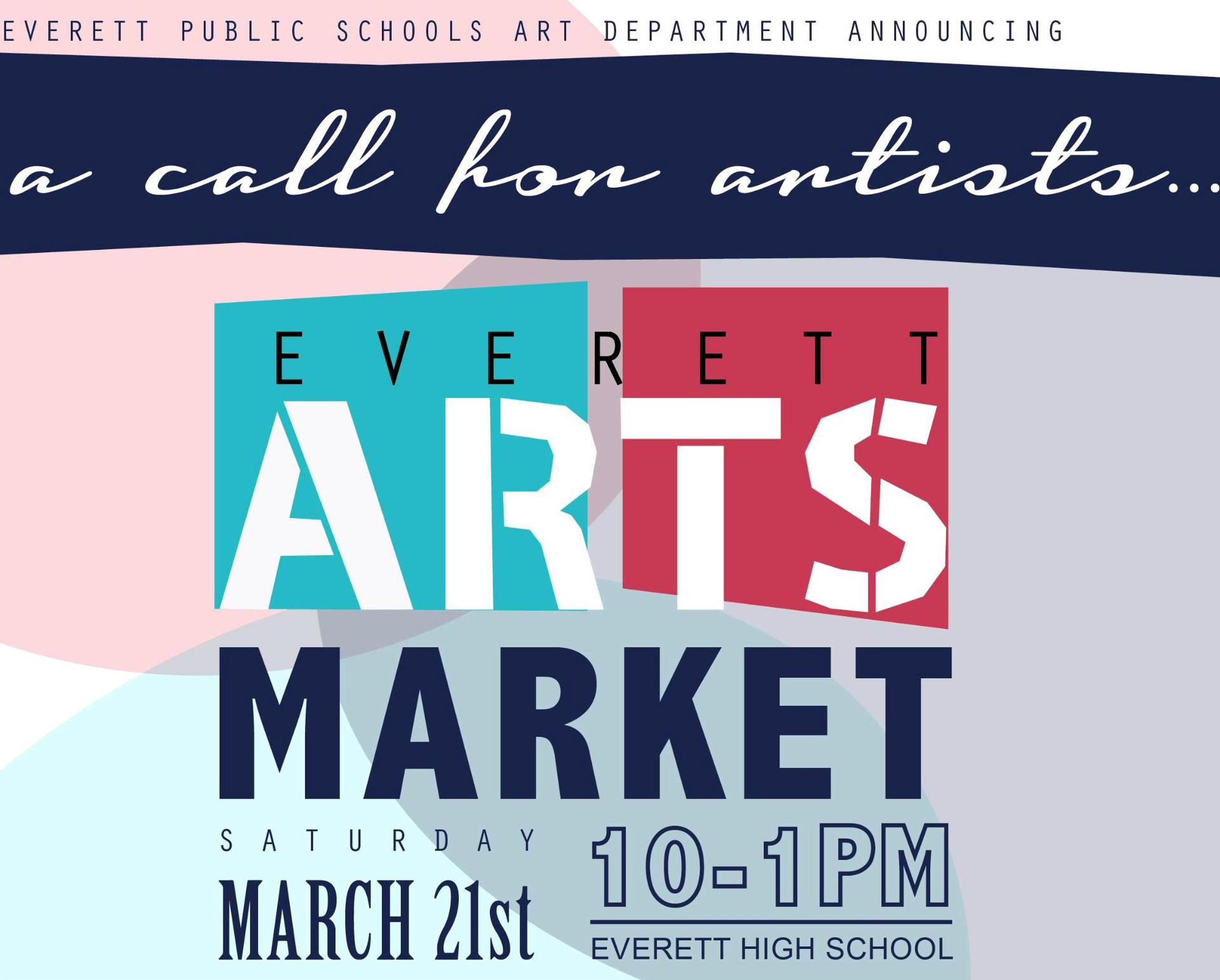 Arts Market logo all text with shaded color shapes as a backdrop