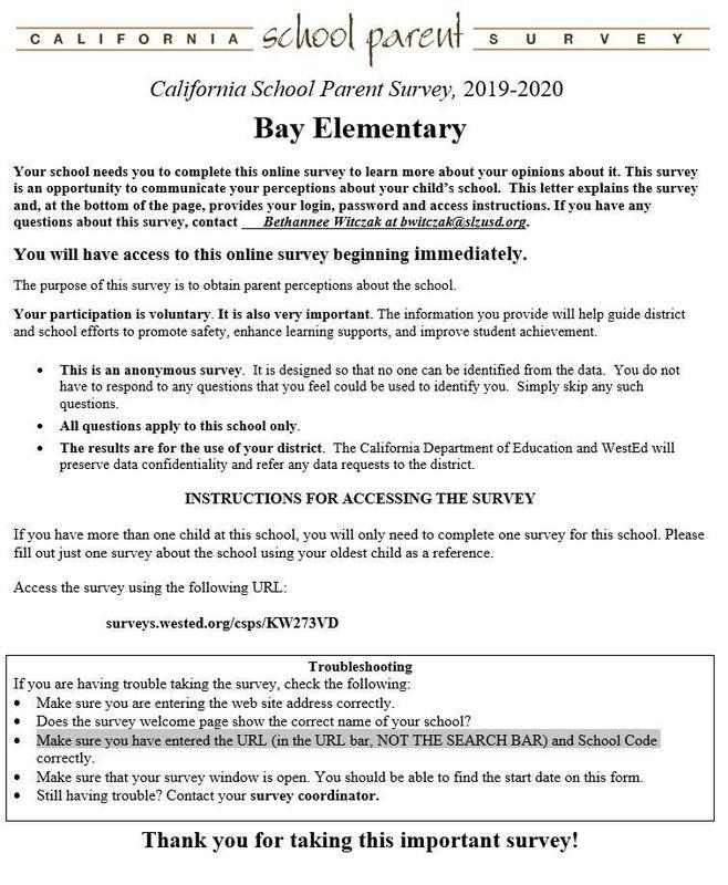 California School Parent Survey 2019-2020 Featured Photo