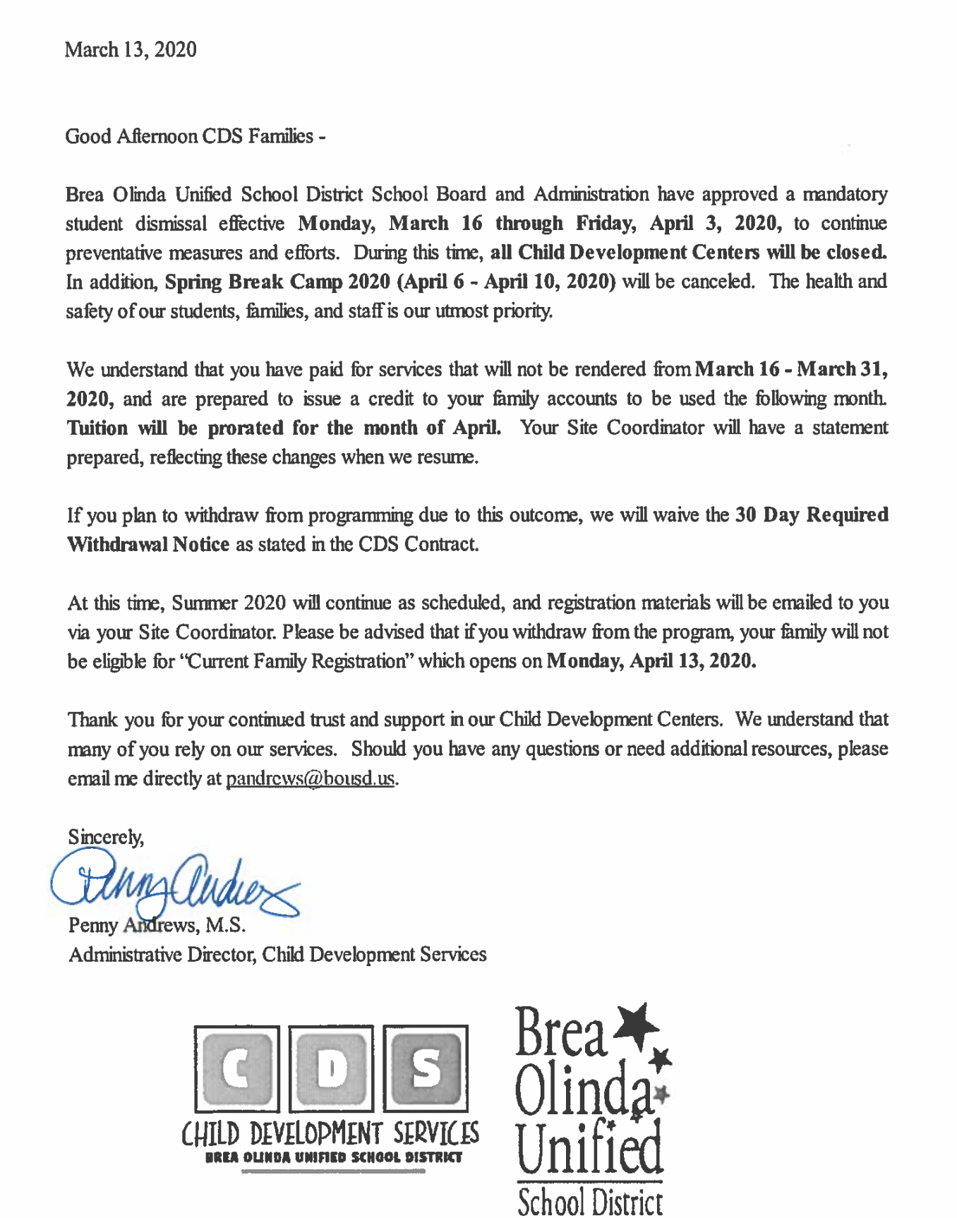 COVID-19 Update for CDS Families