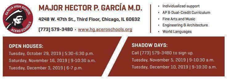Garcia HS Open House Dates