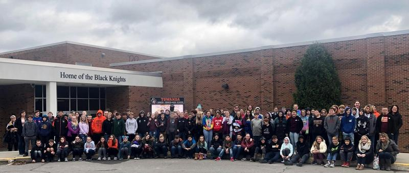 7th grade class with staff.
