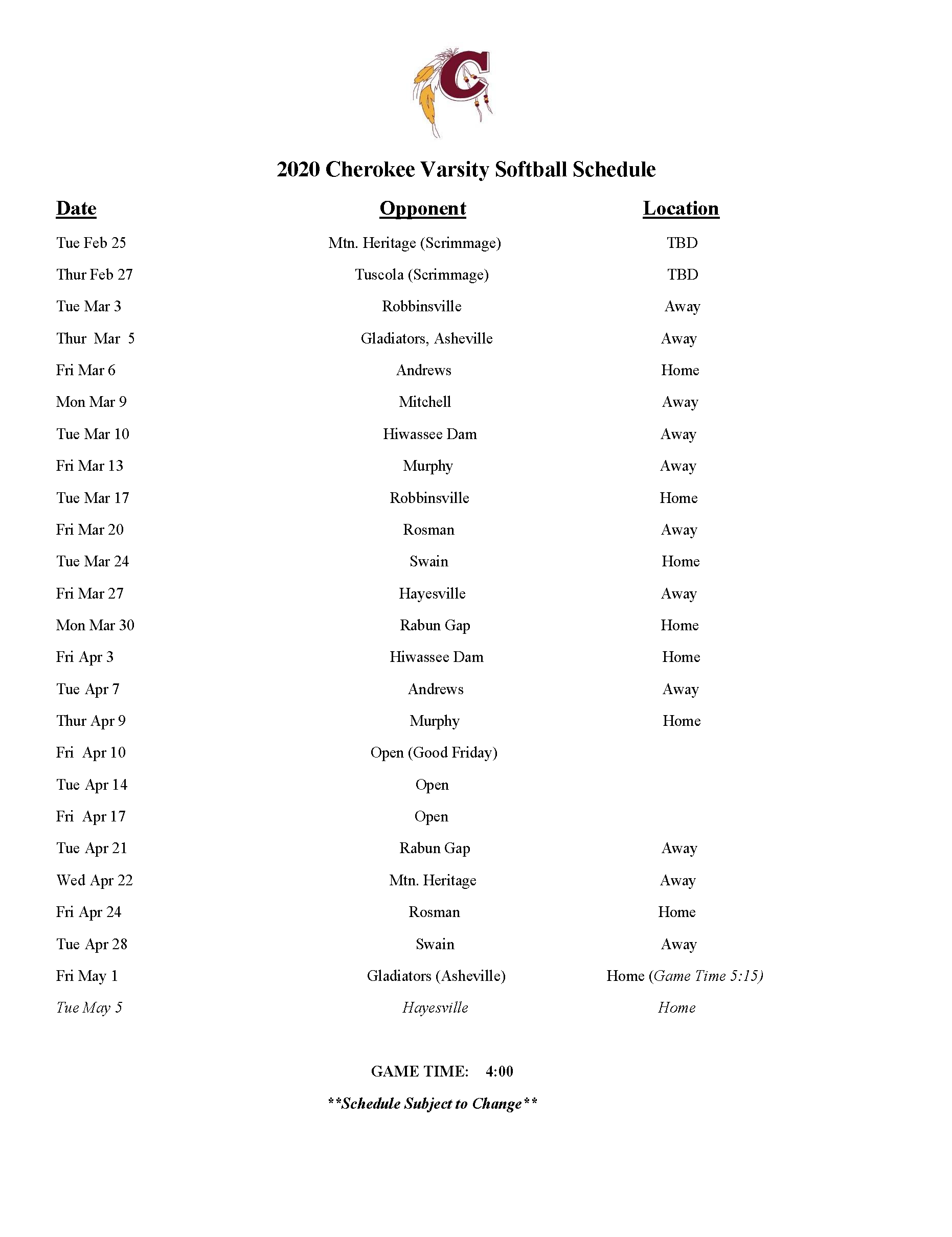 CHS Softball 2020 Schedule