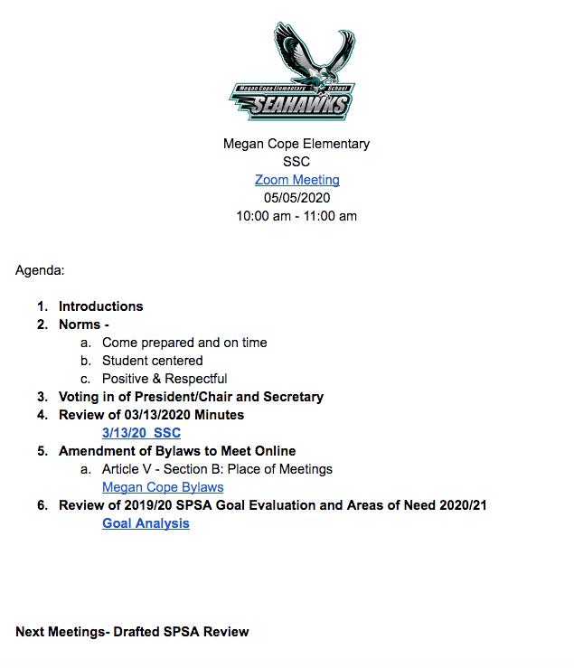05/05/2020 Meeting Agenda