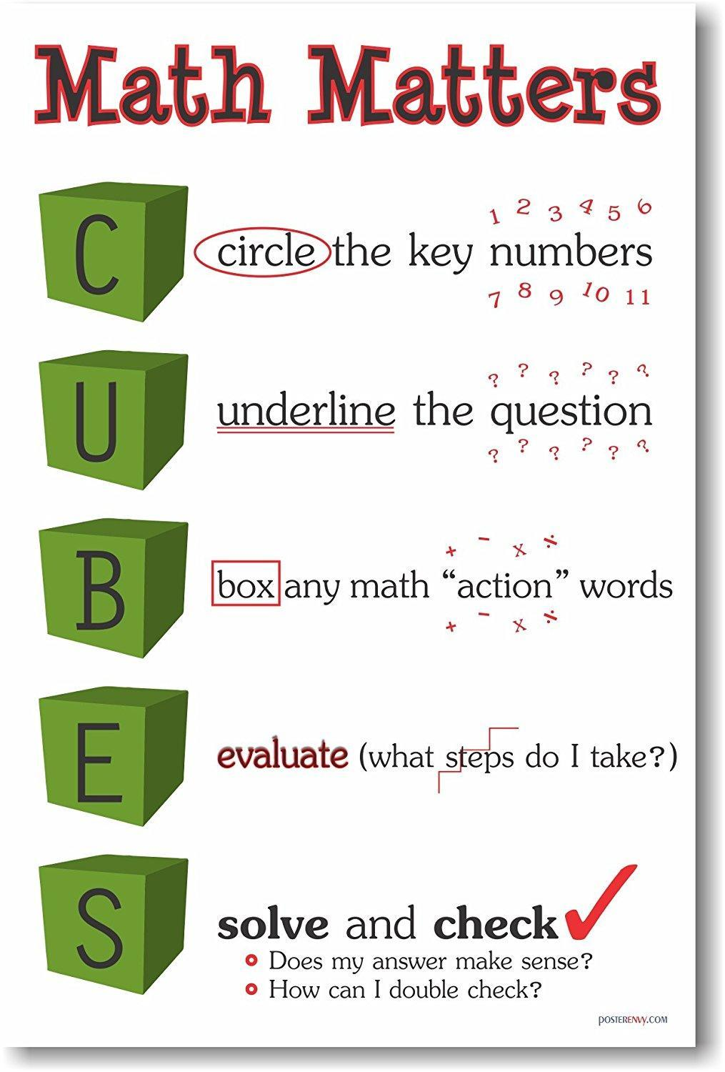 Math Matters - Cubes- Circle key numbers, Underline the question, Box any math action words, Evaluate, Solve and check