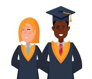 Two Senior students stand next to each other at their high school graduation wearing a graduation robe and hat.