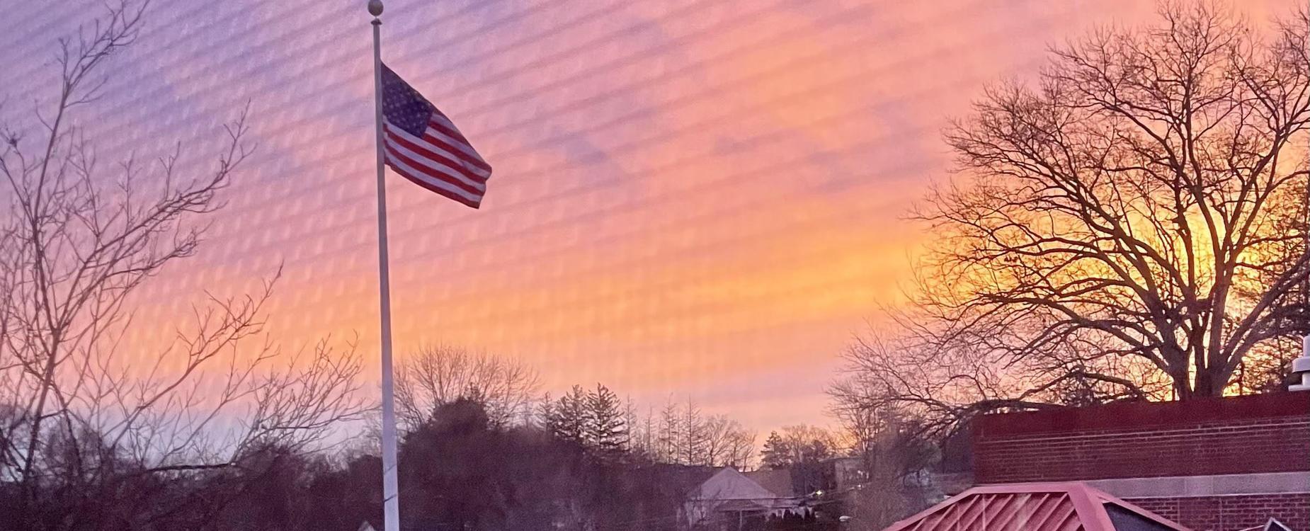 Sunrise over West Street Elementary School