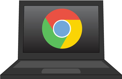 clipart of a chromebook with Google logo