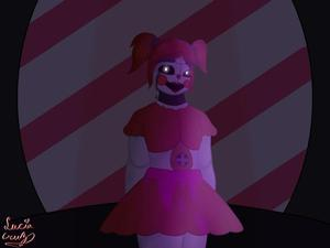 Clown robot girl drawing