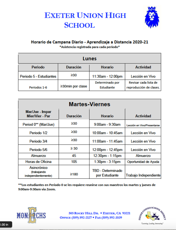Bell Schedule Spanish