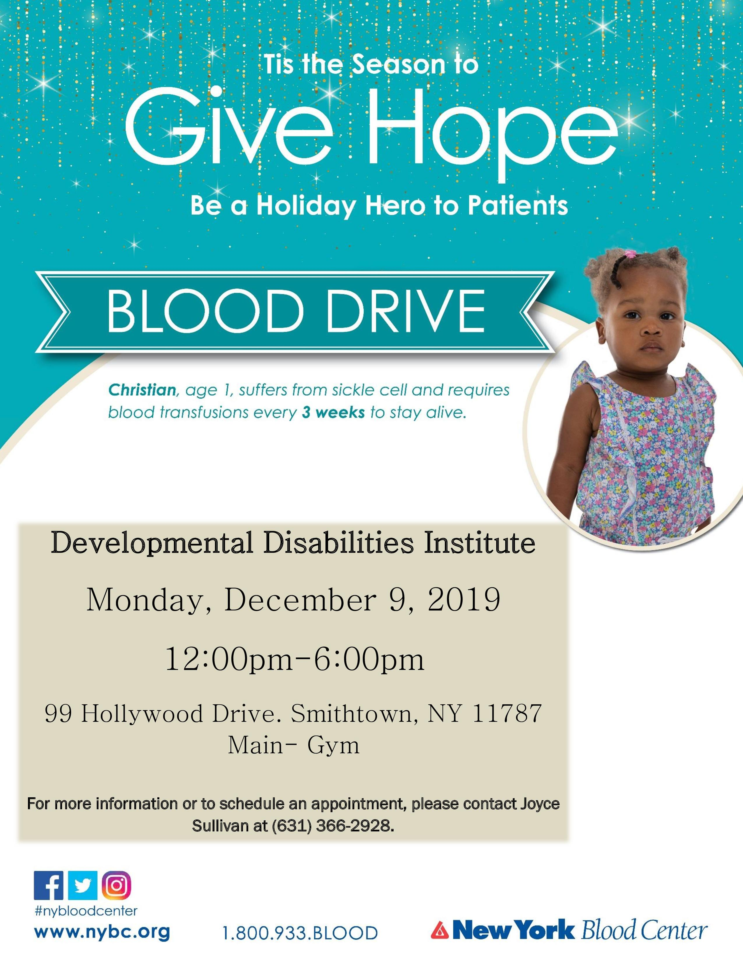 Holiday blood drive flyer