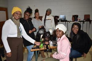 Board Member, Mrs. Lynn Gilmore, visits gifted classes in the district.  Mrs. Gilmore visited the Hair Braiding Credential Program at the Business and Technology Complex to view students' work in progress.  #ItsComeBackTime