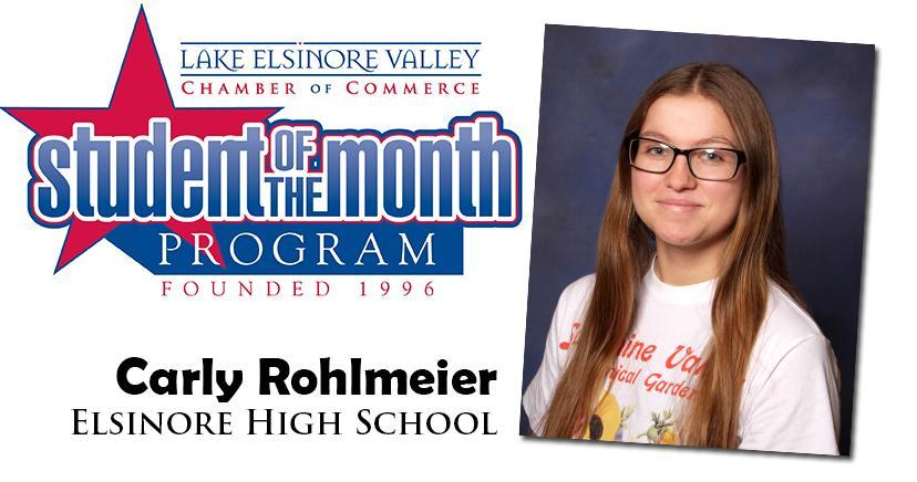 Carly Rohlmeier, Elsinore HS, Student of the Month, October 2020