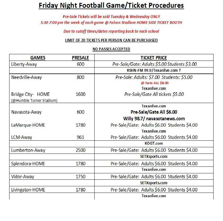 Pre-Sale Varsity FB Tickets