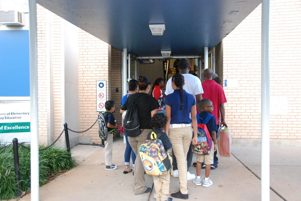 Waiting to get inside at South City, first day 2016-17