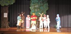 BUHS theatre students performing The House at Pooh Corner for elementary students.