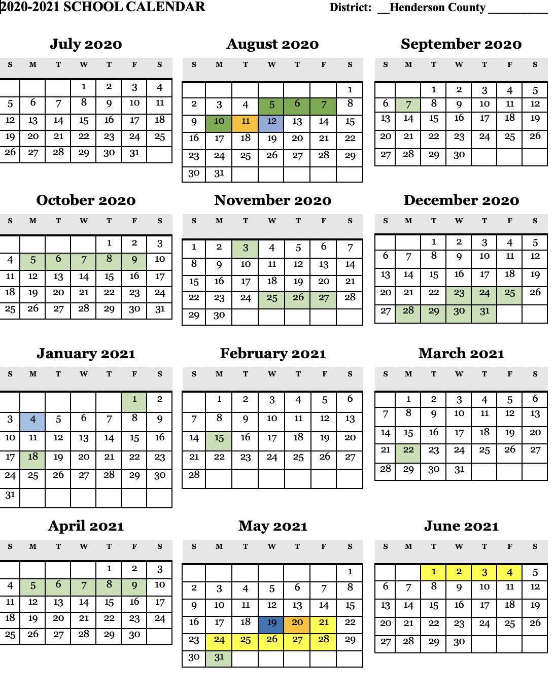 Warrick County School Calendar 2021 Henderson County Schools
