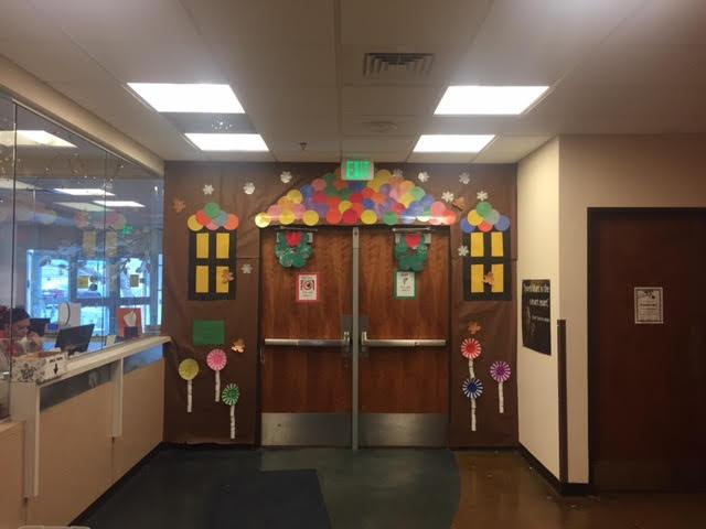 Elementary school entrance decorated
