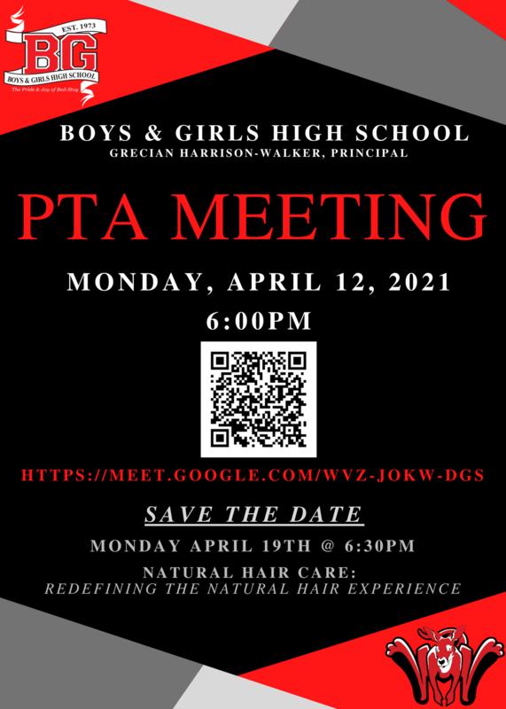 BGHS PTA Meeting April 12 2021 at 6:00 PM