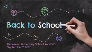 Image of Chalkboard with text Parkview Back to School Night