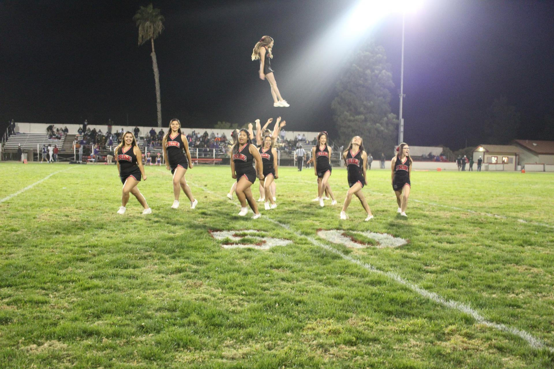Tribe Cheerleaders Performing at the Half Time Show
