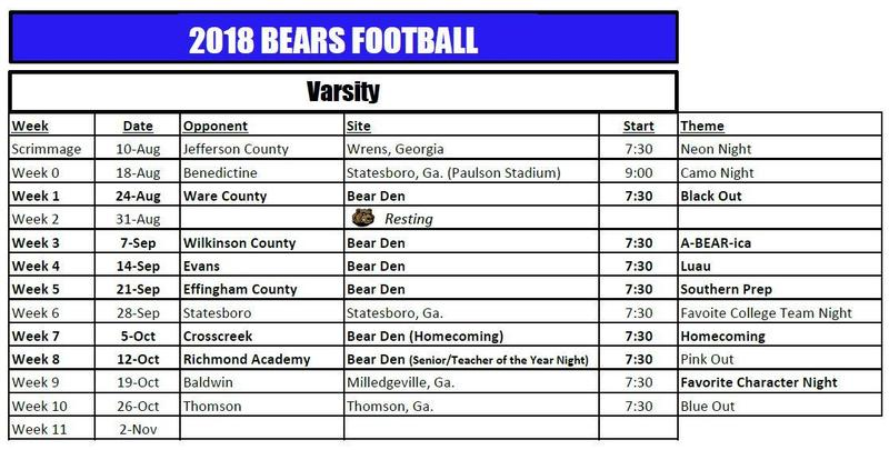 2018 Bears Football Schedule