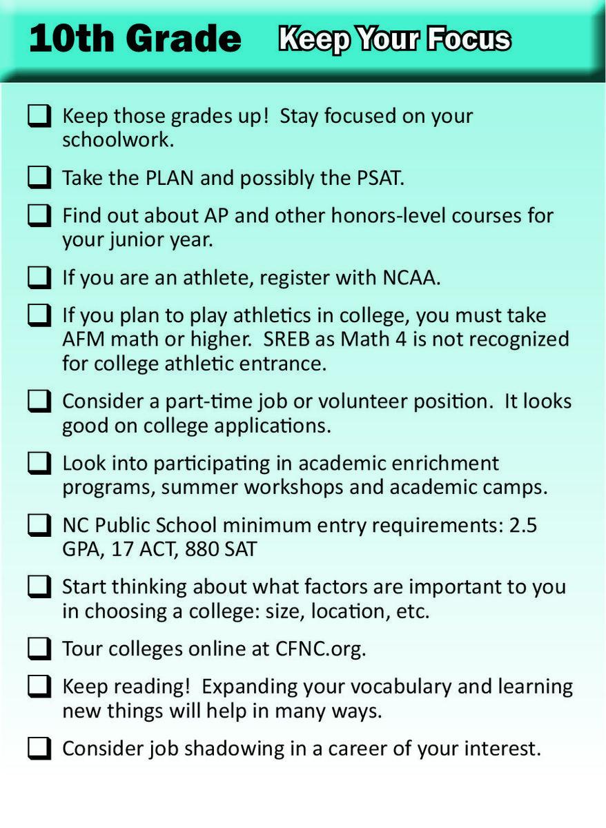 10th Grade Checklist