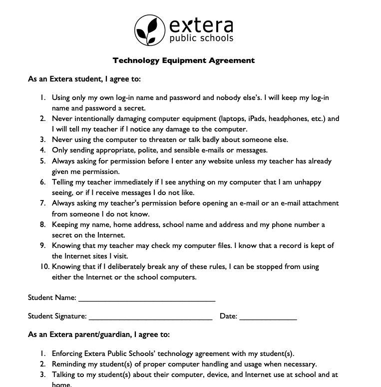 Technology Agreement Form Featured Photo