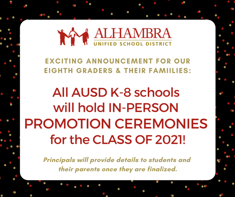 In-Person Promotion Ceremonies for AUSD Eighth Graders! Featured Photo