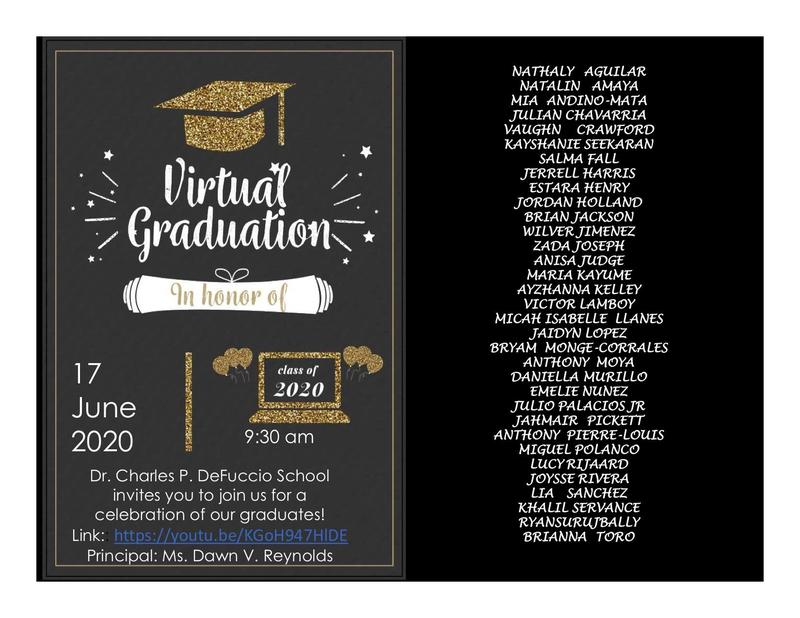 Invitation to Live YouTube Graduation that was 6/17/2020