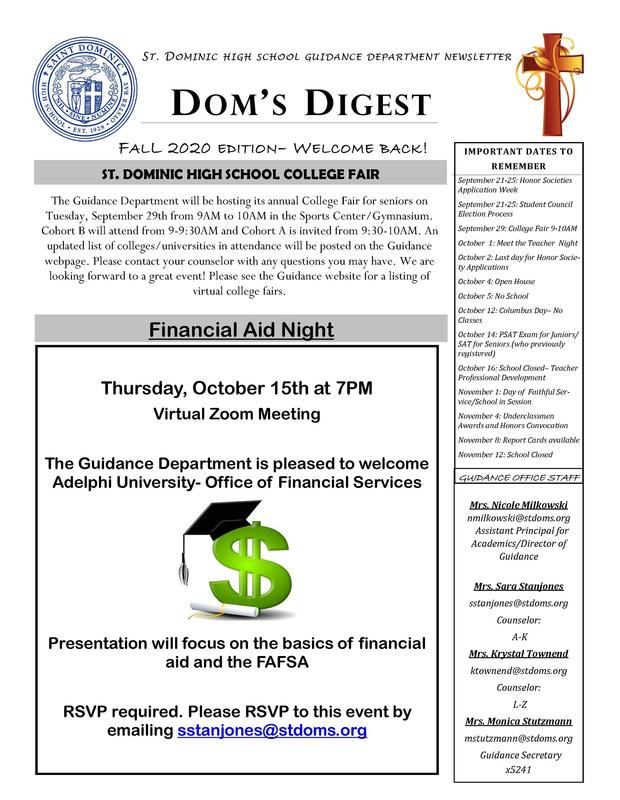 Dom's Digest - Guidance Department Newsletter (Fall 2020 Edition) Featured Photo