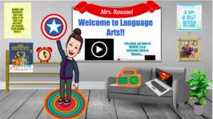Mrs. Rousell bitmojii classroom