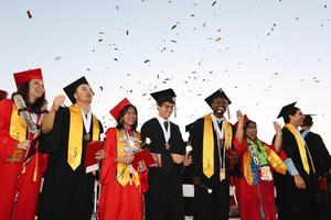 Valley View graduates cheer at the end of commencement ceremony