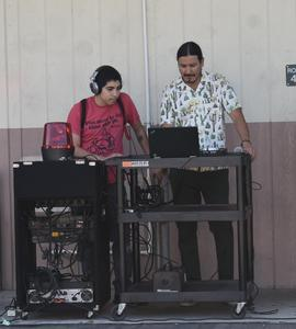 Mr. Rios and a student provided music for carnival.