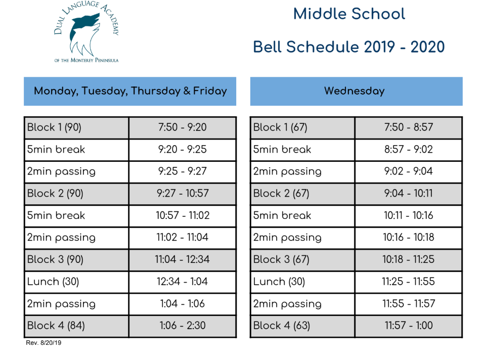 Daily Schedule - About Us - Dual Language Academy of the