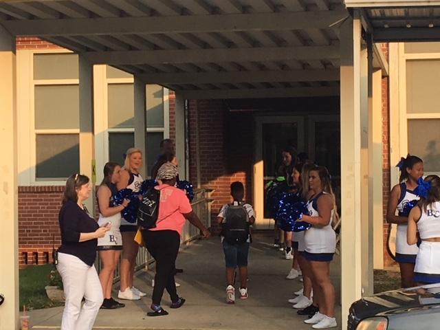 Barton cheerleaders first day of school