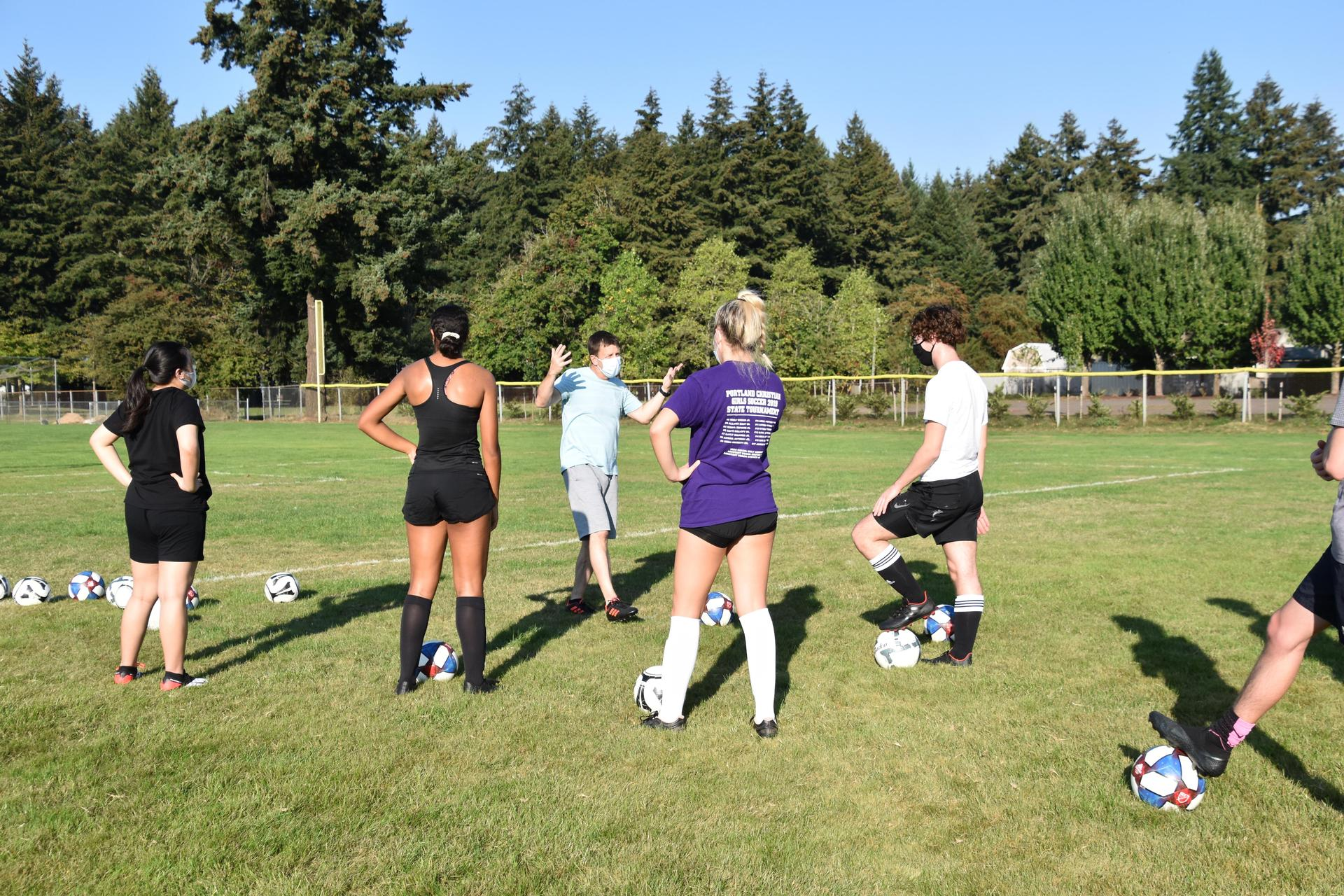 Portland Christian Students at Soccer Drill